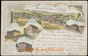 56139 - 1903 ČERVENÝ KOSTELEC - litografická koláž, hotel Hlad�