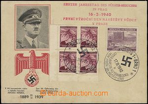 56165 - 1940 card with printing to birthday A. Hitler in 1939 used i