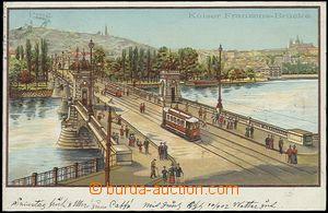 56205 - 1902 Praha - Kaiser Franzens-Brücke, litografie; DA, prošl