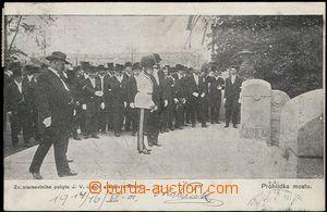 56206 - 1901 FRANZ JOSEPH I.  procházka na mostě; DA, prošlá, od
