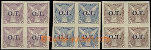 56211 - 1934 Pof.OT1-3 pro obchodní tiskoviny, 4-bloky, u čísla O