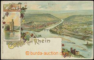 56229 - 1900 Bingen am Rhein - lithography; long address, Un, light