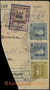 56255 - 1918 parcel dispatch card segment in/at German - Polish vari