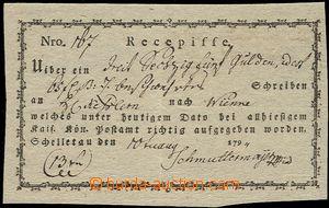 56287 - 1794 poštmistrovský podací lístek na zásilku z Želetavy do V