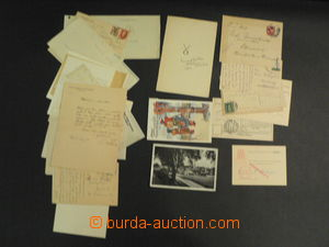 56336 - 1923-41 AUTOGRAFY/ DOMÁCÍ  sestava 34ks pohlednic, dopisů