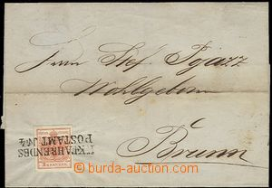 56371 - 1853 folded cover of letter with Mi.3, straight line postmar