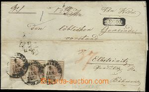 56375 - 1852 folded Reg letter from Wien (Vienna) to Týnce n./L., f