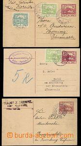 56403 - 1919-20 CDV10, sestava 3ks, z toho 2ks dofrank., 1ks adres.