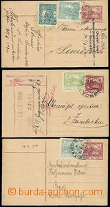 56410 - 1919-20 CDV10, comp. 3 pcs of, all uprated, with cancel. VPL