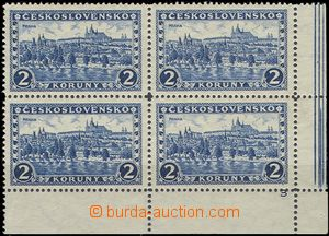 56419 - 1926 Pof.225 Prague, LR corner blk-of-4 with margin and plat