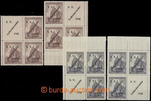 56528 - 1945 Domažlice, selection of bloks of four with overprinted