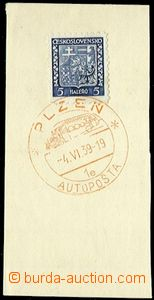 56597 - 1939 mobile post office on a bus, cut with Czechoslovak stam