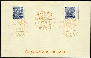 56598 - 1939 autopošta, ústřižek s 2ks československých zn. Po
