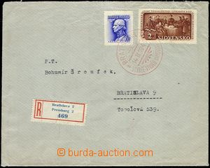 56602 - 1943 Reg letter with franking stamp. Alb.78, 83, special pos