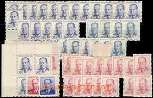 56641 - 1953 Pof.740A, 740B, 741, Zápotocký, sestava 50ks známek,