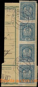 56799 - 1919 parcel dispatch card segment with franking Austrian sta