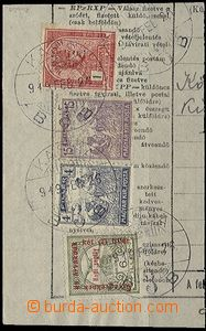 56809 - 1919 cut square from Hungarian telegram franked with. foreru