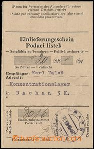 56883 - 1942 C.C. DACHAU  certificate of mailing on/for mailing mone