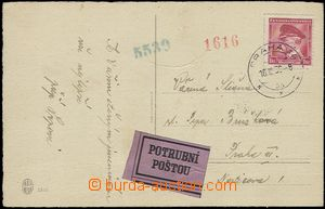 56894 - 1939 Pneumatic tube post - postcard in the place franked wit