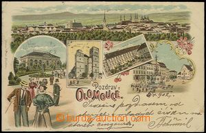56898 - 1902 Olomouc - lithography with figures people; long address