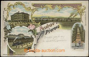 56900 - 1900 Přerov - lithography, railway-station; long address, U
