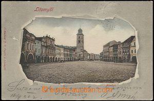 56905 - 1902 Litomyšl - náměstí, koláž protržený papír; DA,