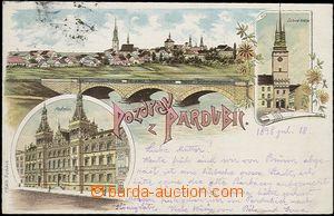56912 - 1898 Pardubice - litografická koláž, kamenný most přes