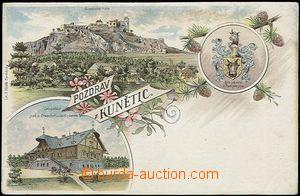 56921 - 1900 Kunětice - litografická koláž s erbem; DA, nepouži