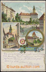 56937 - 1900 Český Krumlov - lithography; long address, Us, wrinkl