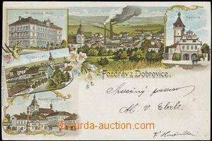 56941 - 1899 Dobrovice - litografická koláž, cukrovar; DA, prošl