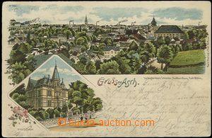 56947 - 1899 Aš (Asch) - litografická koláž; DA, prošlá, omač