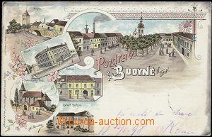 56968 - 1898 Budyně n./O. - lithography; long address, Us, wrinkled