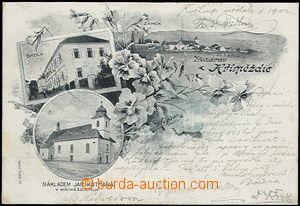 56976 - 1902 Hřiměždice - 3-záběrová koláž, škola, kostel;