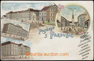 56984 - 1900 Pardubice - litografická koláž, reklamní přítisk
