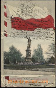56985 - 1904 Kutná Hora - collage with flag; long address, Us, post