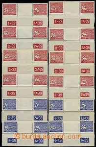 56987 - 1939 Pof.DL1-14, selection of 16 pcs of single stamp. and 12