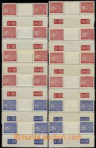 56987 - 1939 Pof.DL1-14, sestava 16ks jednotlivých zn. a 12ks vodor