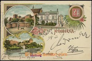 57003 - 1900 Nymburk - litografická koláž, divadlo, městský zna