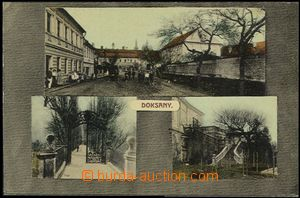 57009 - 1910 Doksany - 3-views, figures in front of shop, area of ca