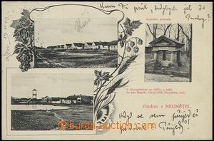 57012 - 1910 Neumětely - 3-views, 2x village square with fire-fight