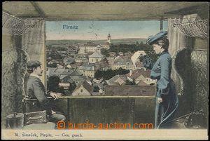 57014 - 1908 Brtnice (Pirnitz) - barevná koláž, okno vagónu, cel