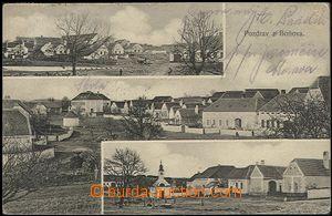 57021 - 1908 Boňov - 3-views, village square, pub; Us, bumped corne
