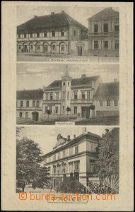 57022 - 1926 Prčice - 3-views, hospital, town-hall, castle; Us, goo