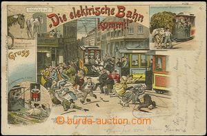 57032 - 1898 Die elektrische Bahn kommt!, lithography, caricature th