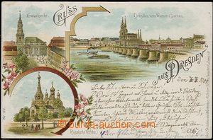 57046 - 1901 Dresden - litografická koláž; DA, prošlá, dobrý s