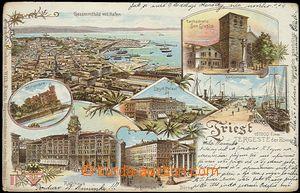 57053 -  Trieste - litografická koláž, přístav; DA, prošlá, o