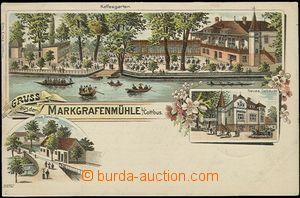 57056 - 1901 Markgrafenmühle bei Cottbus - litografická koláž, K