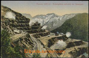 57060 - 1910 Eisenerz - Erzbergabbau während der Sprengzeit, odstř