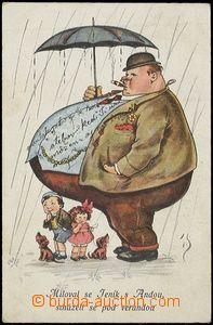 57064 - 1923 karikatura tlustého muže s deštníkem; prošlá, oma