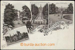 57070 - 1900 Wilhelmshöhe - litografická koláž, zámecký park s